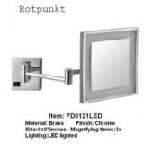 Квадратное настенное косметическое зеркало с подсветкой Rotpunkt(FD-LS121)