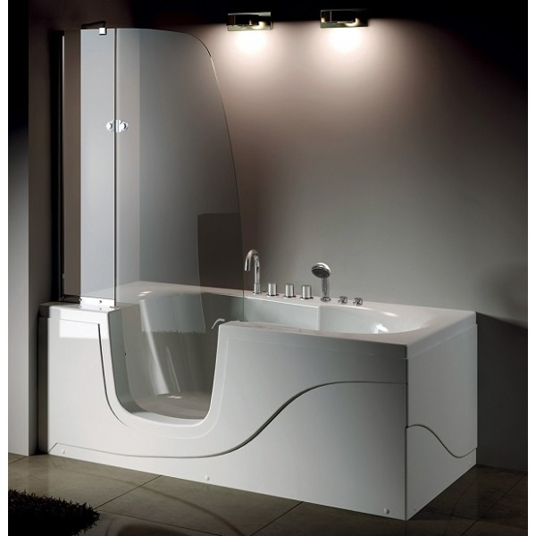 Ванна для инвалидов со стеклянной шторкой-дверцей