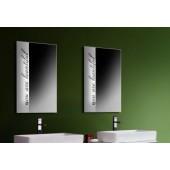 Зеркало с подсветкой и надписью прямоугольное