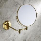 Золотое косметическое зеркало двустороннее на кронштейне, настенное Rotpunkt
