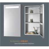 Зеркальный узкий шкаф для ванной с подсветкой шириной 40 см