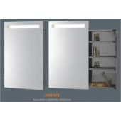 Зеркальный узкий шкаф для ванной с подсветкой